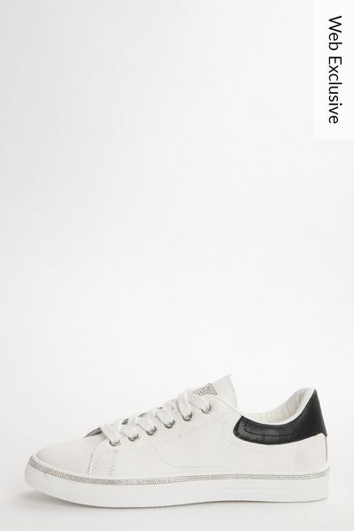 White & Black Embellished Trainers